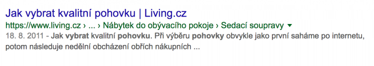 Ukázka nezajímavého textu ve výsledcích vyhledávání