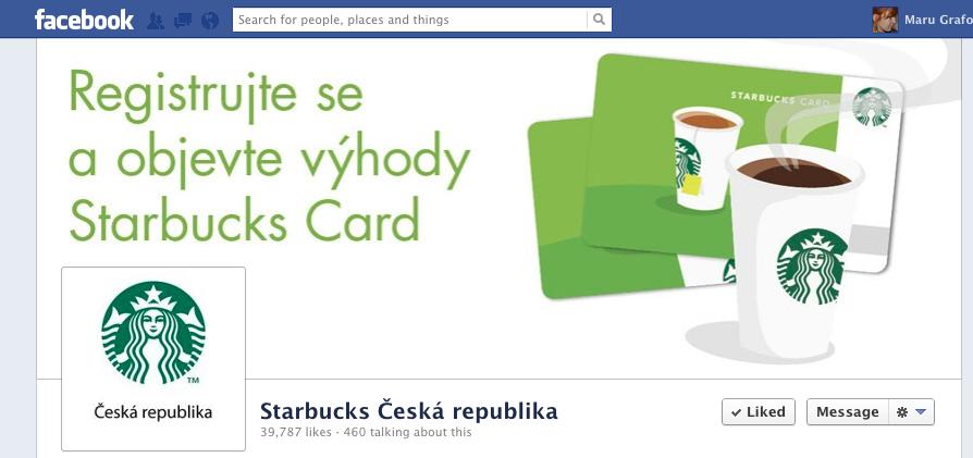 FB profil českého Starbucks: cover