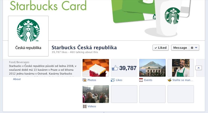 FB profil českého Starbucks: otevřené záložky