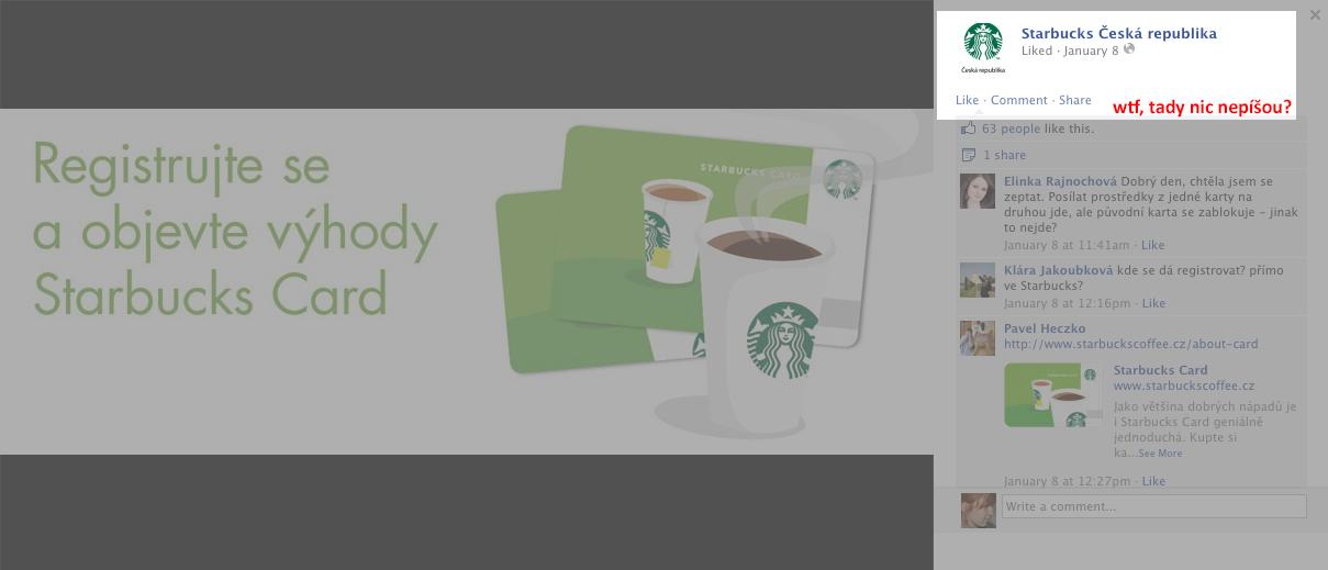 FB profil českého Starbucks: prázdné info u coveru