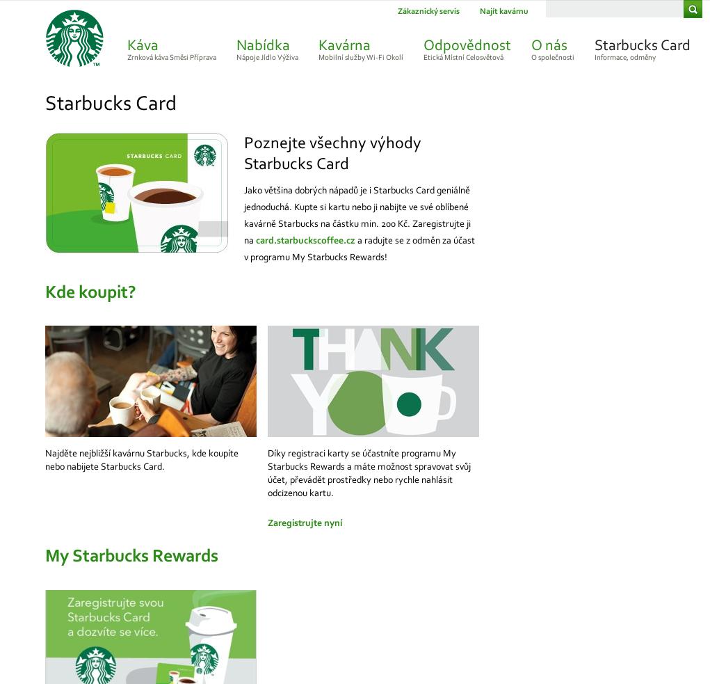 Web českého Starbucks, stránka About Card